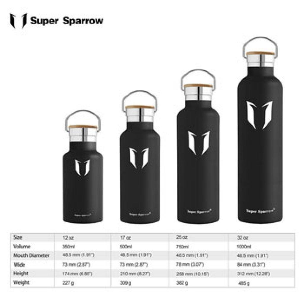 Super Sparrow bouteille en inox isotherme : les différentes tailles (de 350ml à 1 litre)