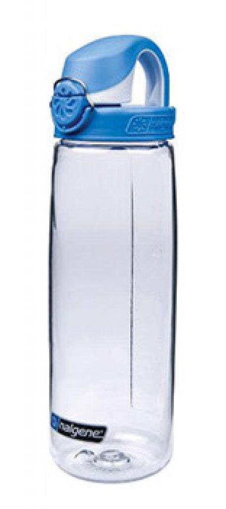 Gourde pour eau potable Nalgene OTF. Ouverture à une main, poignée de transport et système de verrouillage.