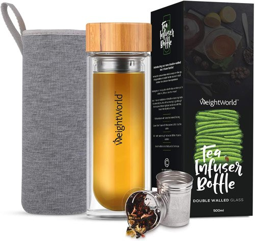 bouteille en verre avec infuseur à thé