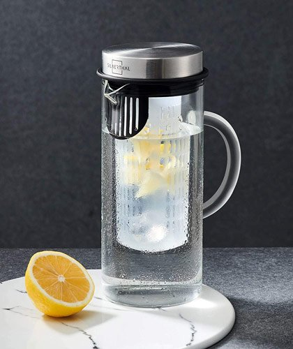 pichet carafe infuseur en verre pour thé glacé